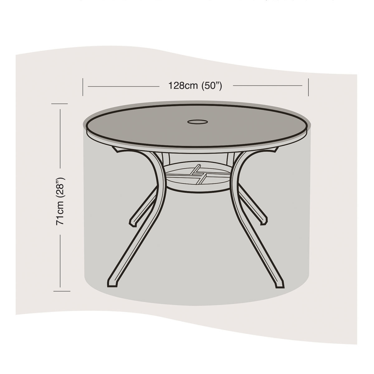 schutzh lle f r tisch gro rund von g rtner p tschke. Black Bedroom Furniture Sets. Home Design Ideas