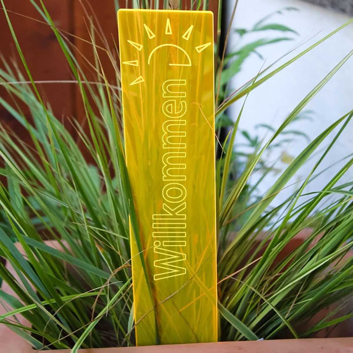 sunart® Leuchtstele Wilkommen, gelb-orange