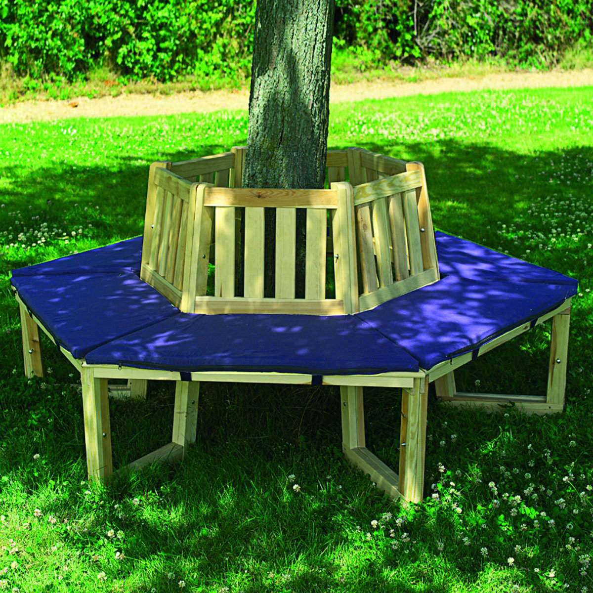 Baumbank 360 Grad mit Sitzauflage blau