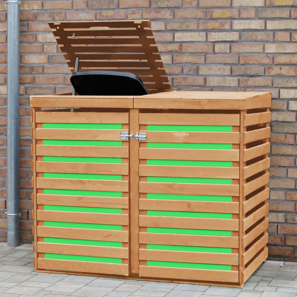 CYO Mülltonnendoppelbox Honigbraun-Grün