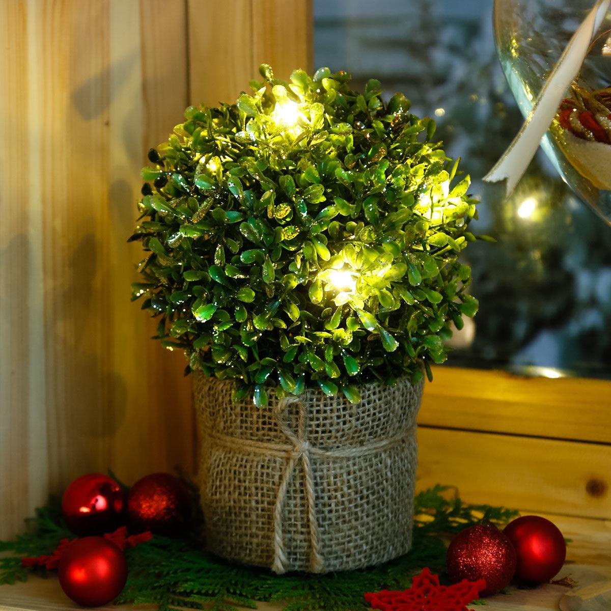 LED-Buchsbaum Winterzauber, gold