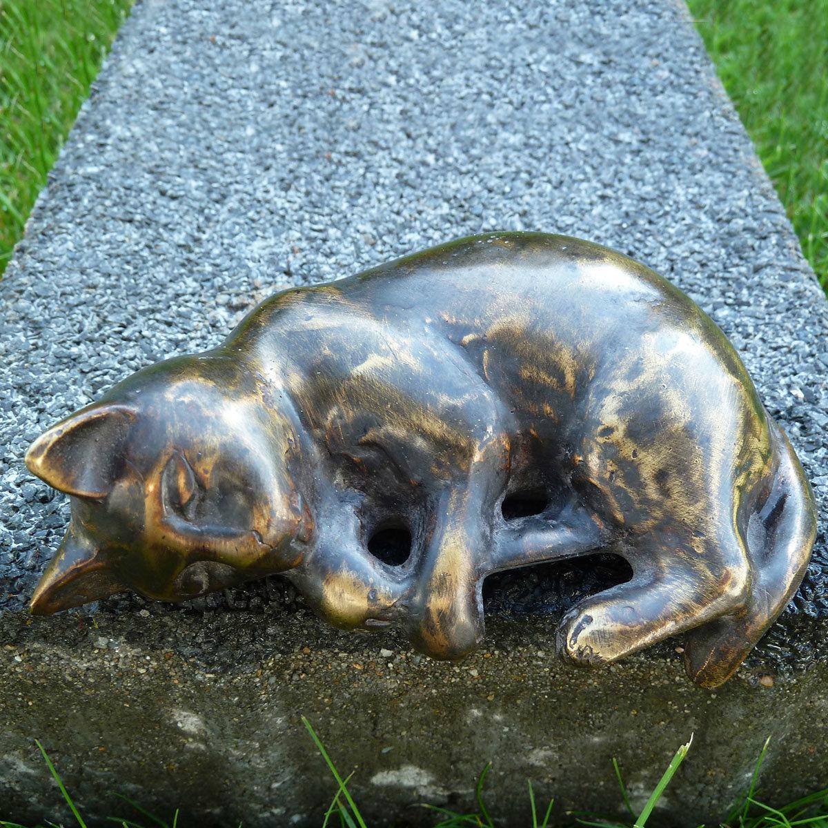Bronze-Figur Kantenfigur Kater Aristo, klein