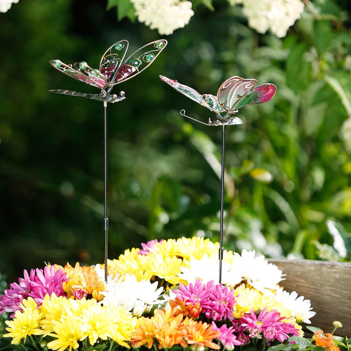 Topfstecker Libelle & Schmetterling, 2er-Set