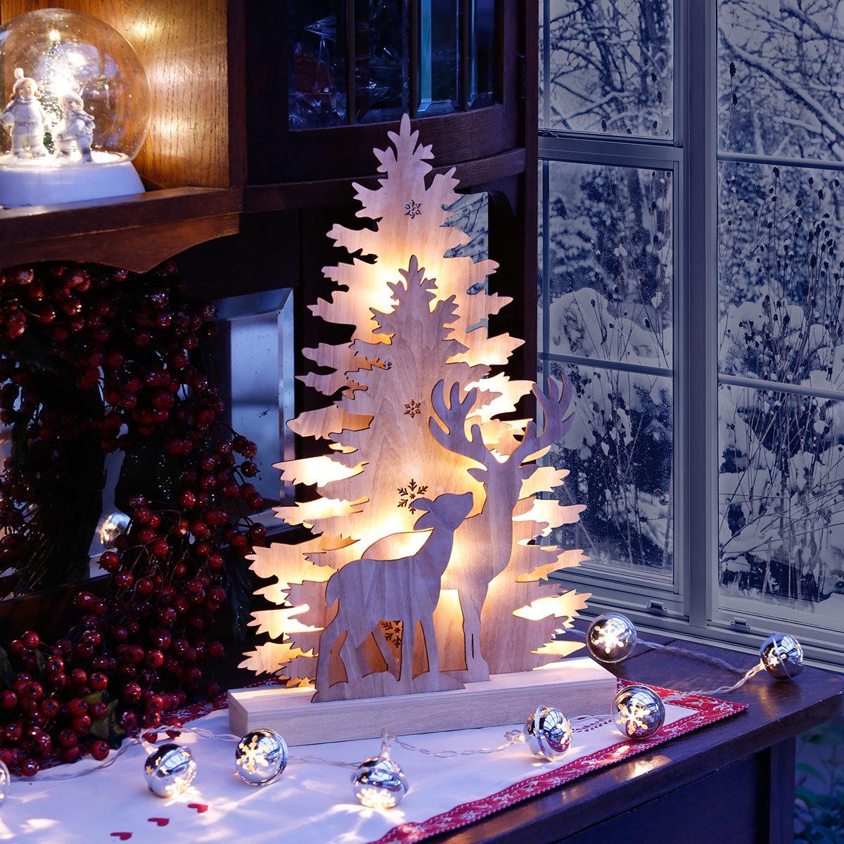LED-Fensterleuchter Winter Emotion, 44x28x6 cm, Holz, natur