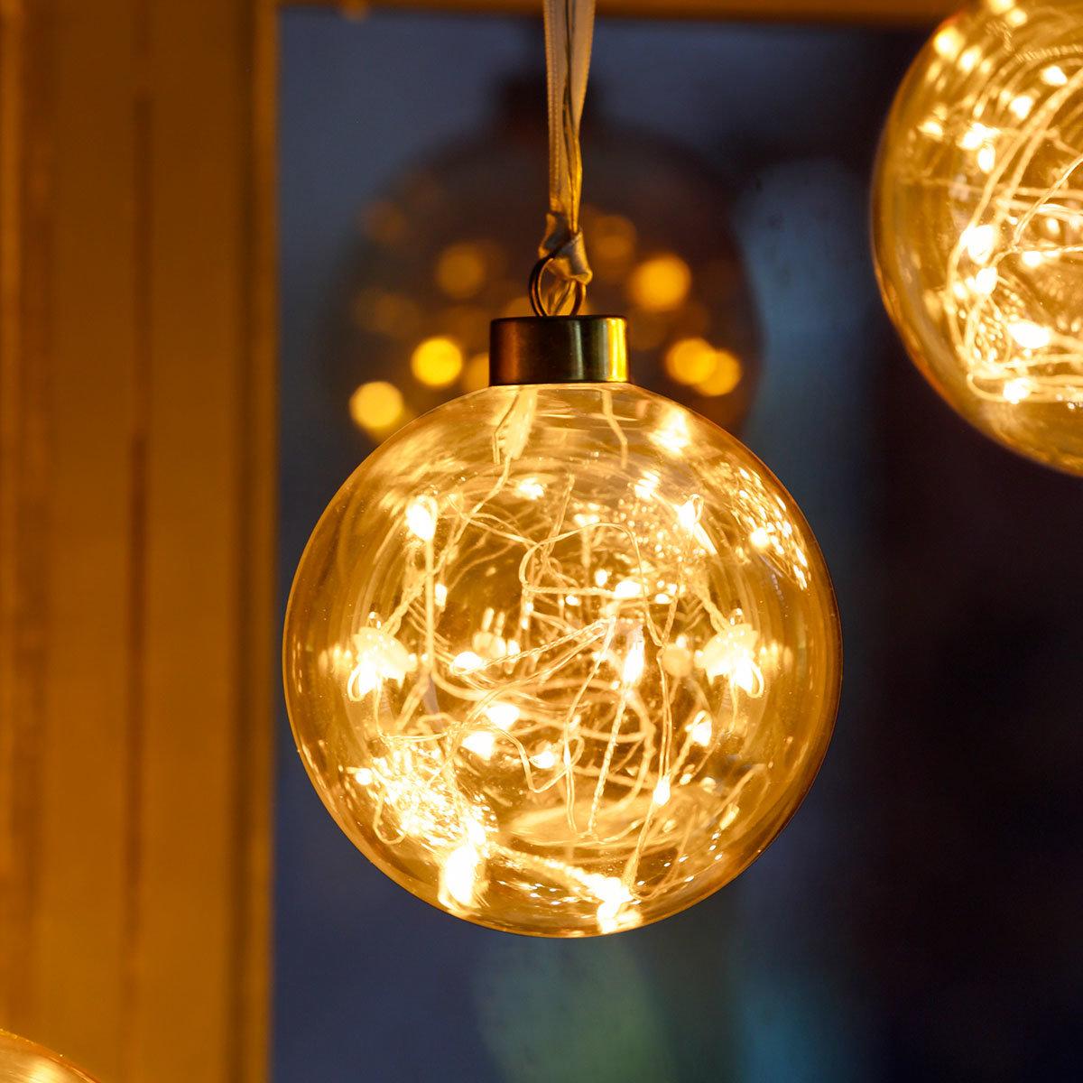LED-Glaskugel Golden Glow, klein