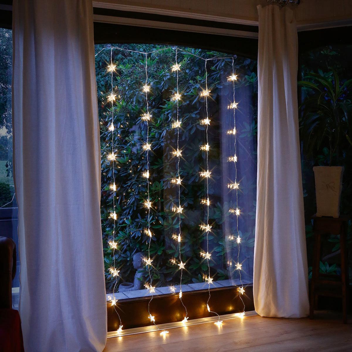 Led Weihnachtsbeleuchtung Für Fenster.Led Lichtervorhang Nachthimmel 50 Leds