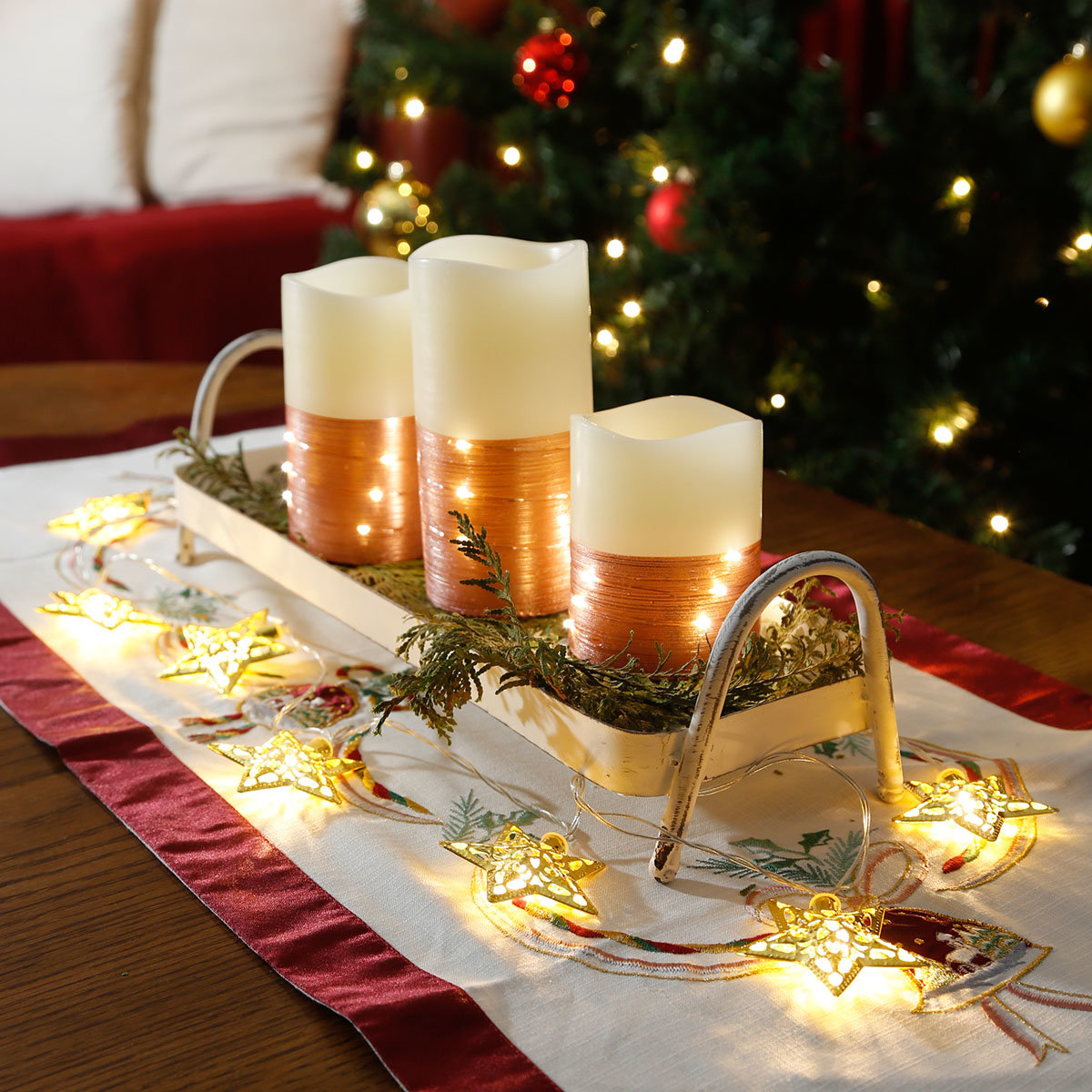 LED-Echtwachskerze Happy Holiday, 3er-Set