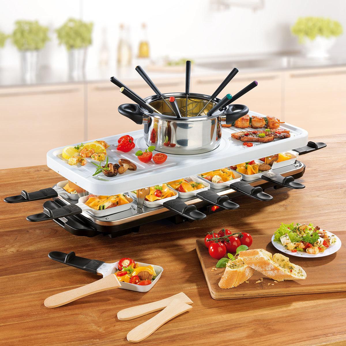 Raclette- & Fondue-Set mit Keramik-Antihaftbeschichtung