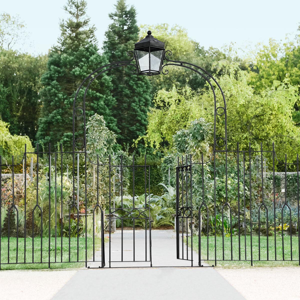 Gartentor Chelsea Mit Laterne 270x43x223 Cm Eisen Schwarz