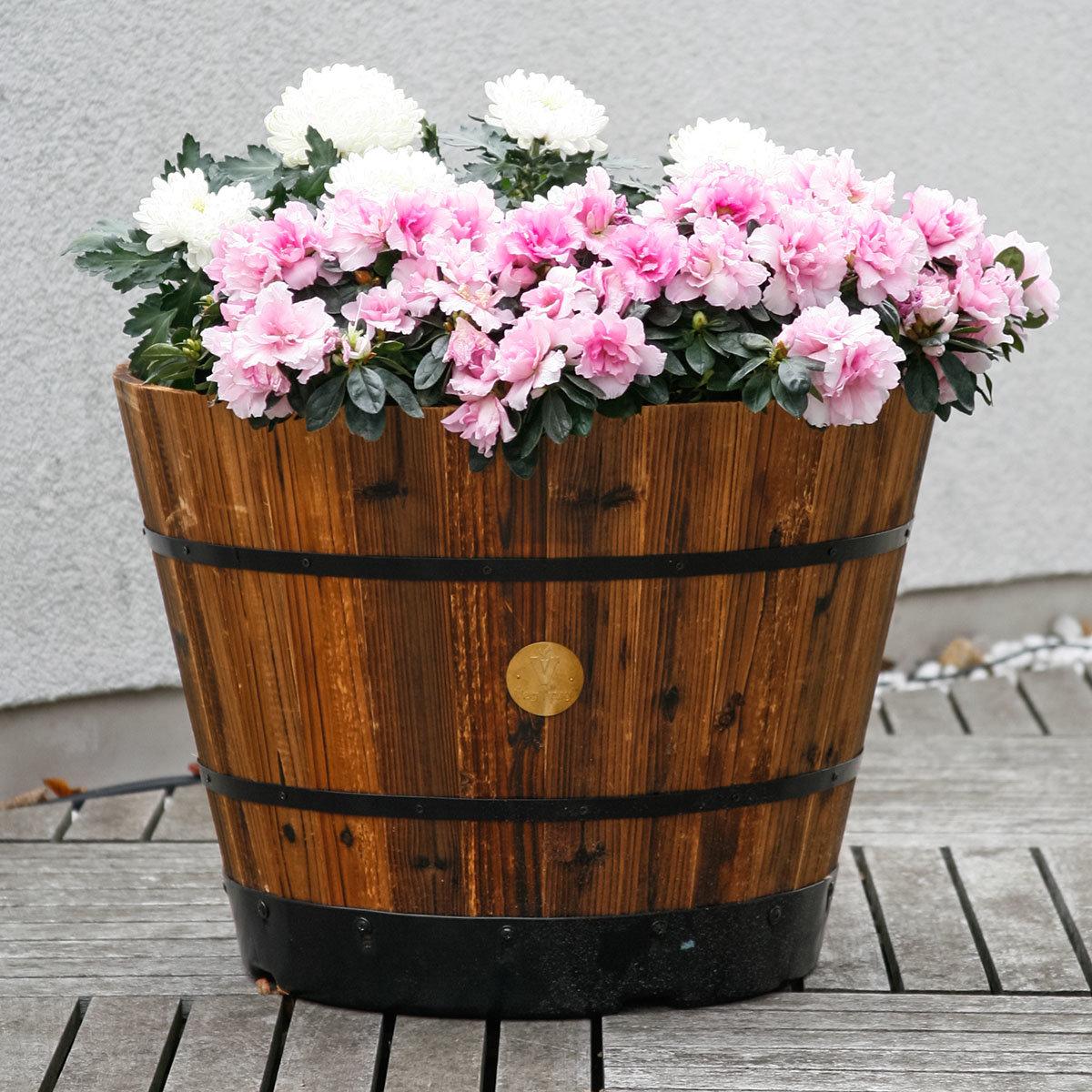 Pflanzfass Brandy, 41x55x55 cm, braun