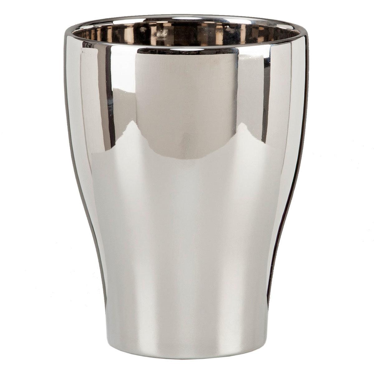 Keramik-Orchideengefäß, rund, 17,3x13,6x13,6 cm, silber
