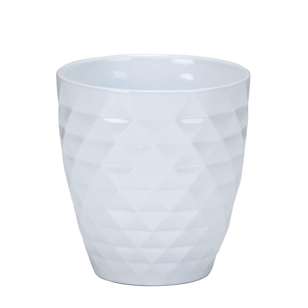 Keramik-Orchideengefäß Alaska, rund, 12,3x10x5x10,5 cm, weiß