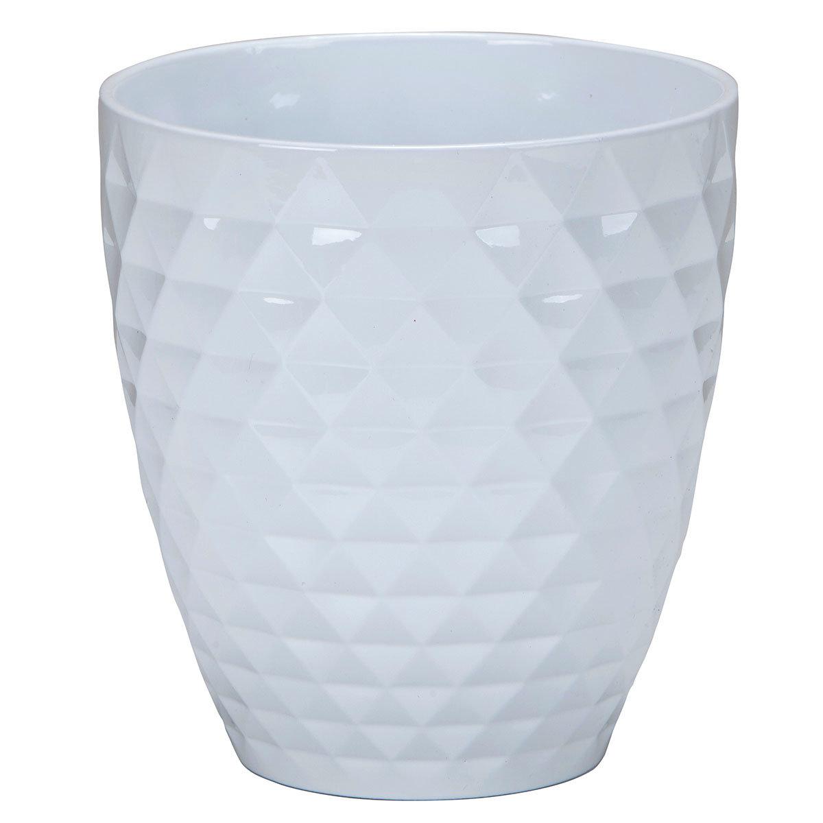 Keramik-Orchideengefäß Alaska, rund, 17,3x16,3x16,3 cm, weiß