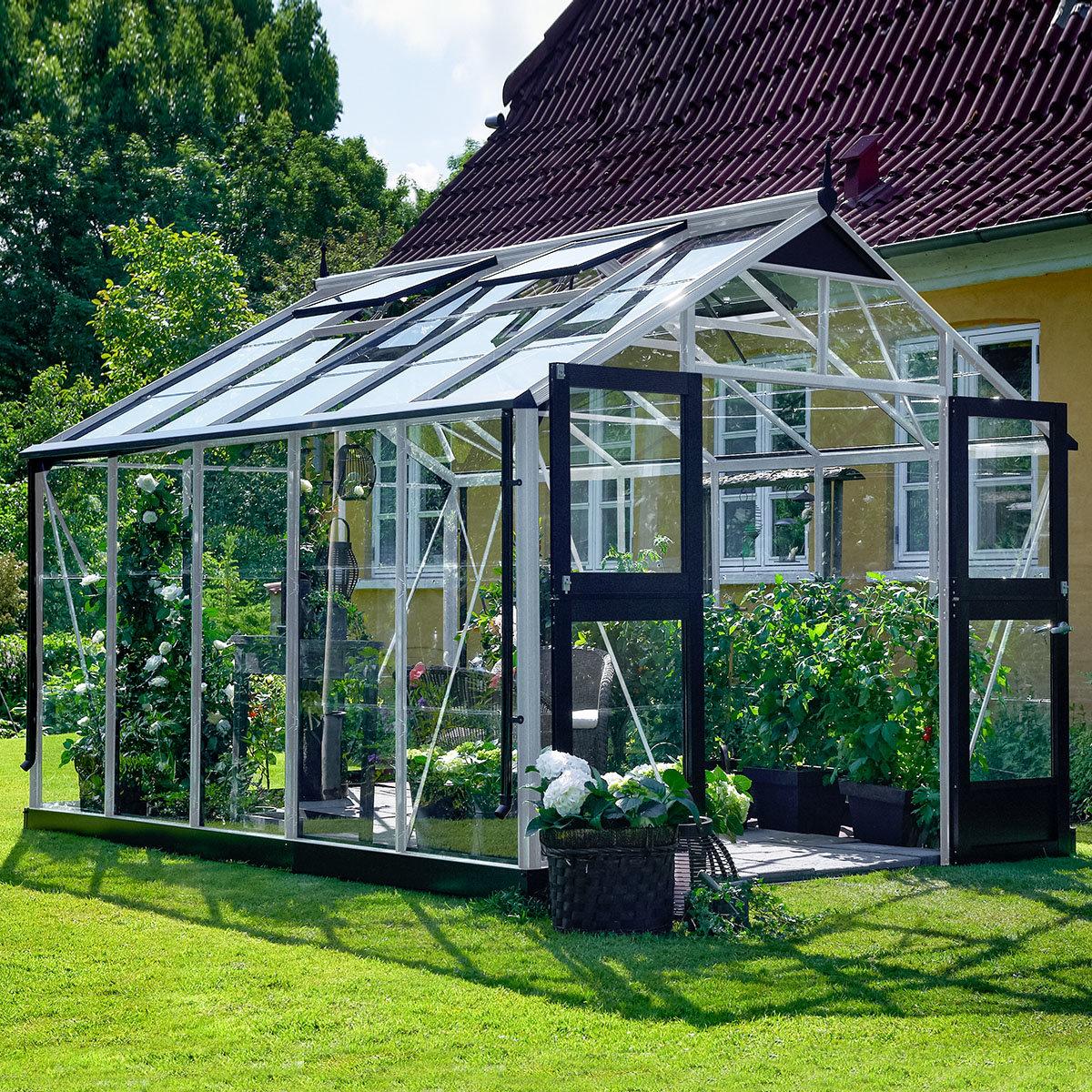Gewächshaus Premium 10,9 m² silber