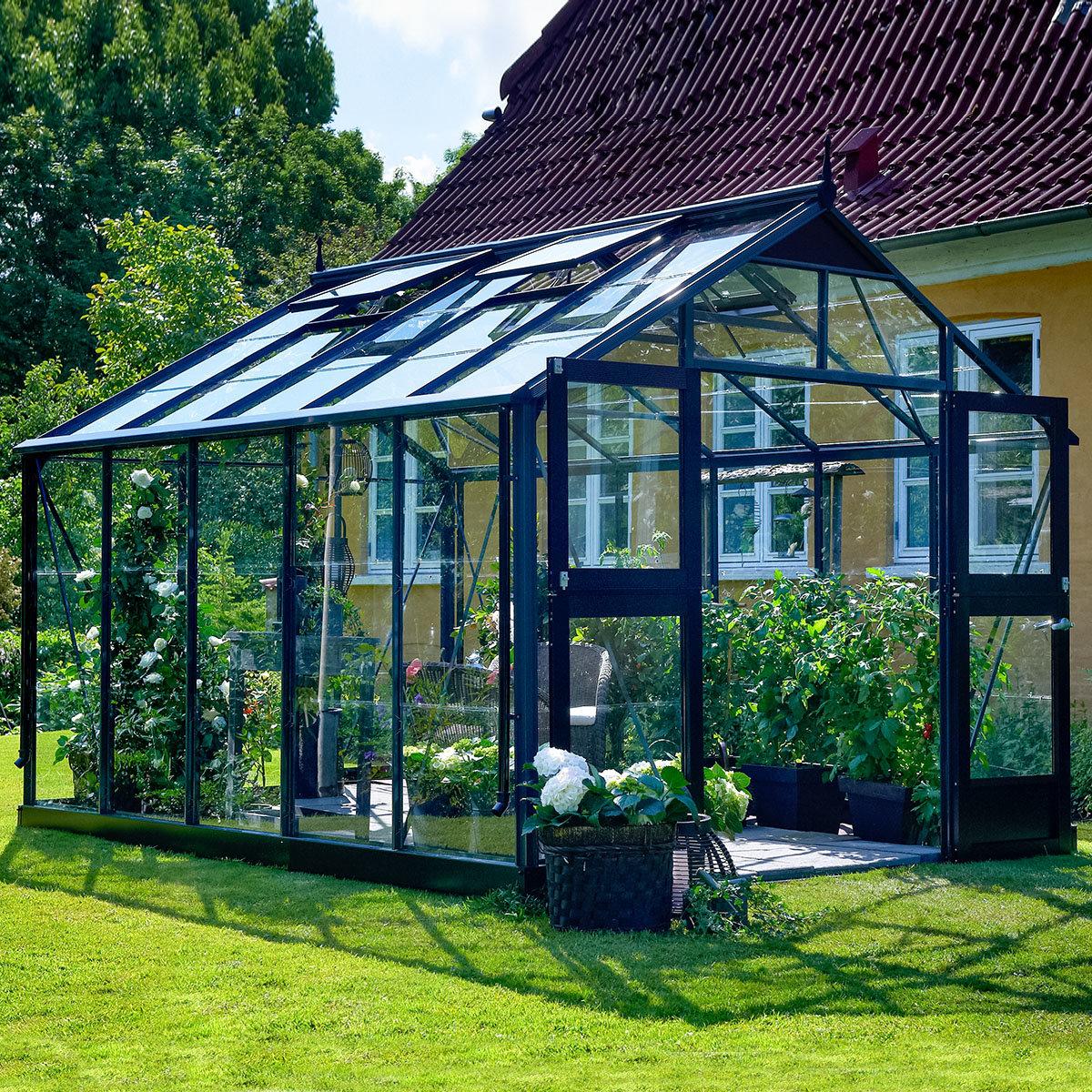 Gewächshaus Premium 10,9 m² anthrazit