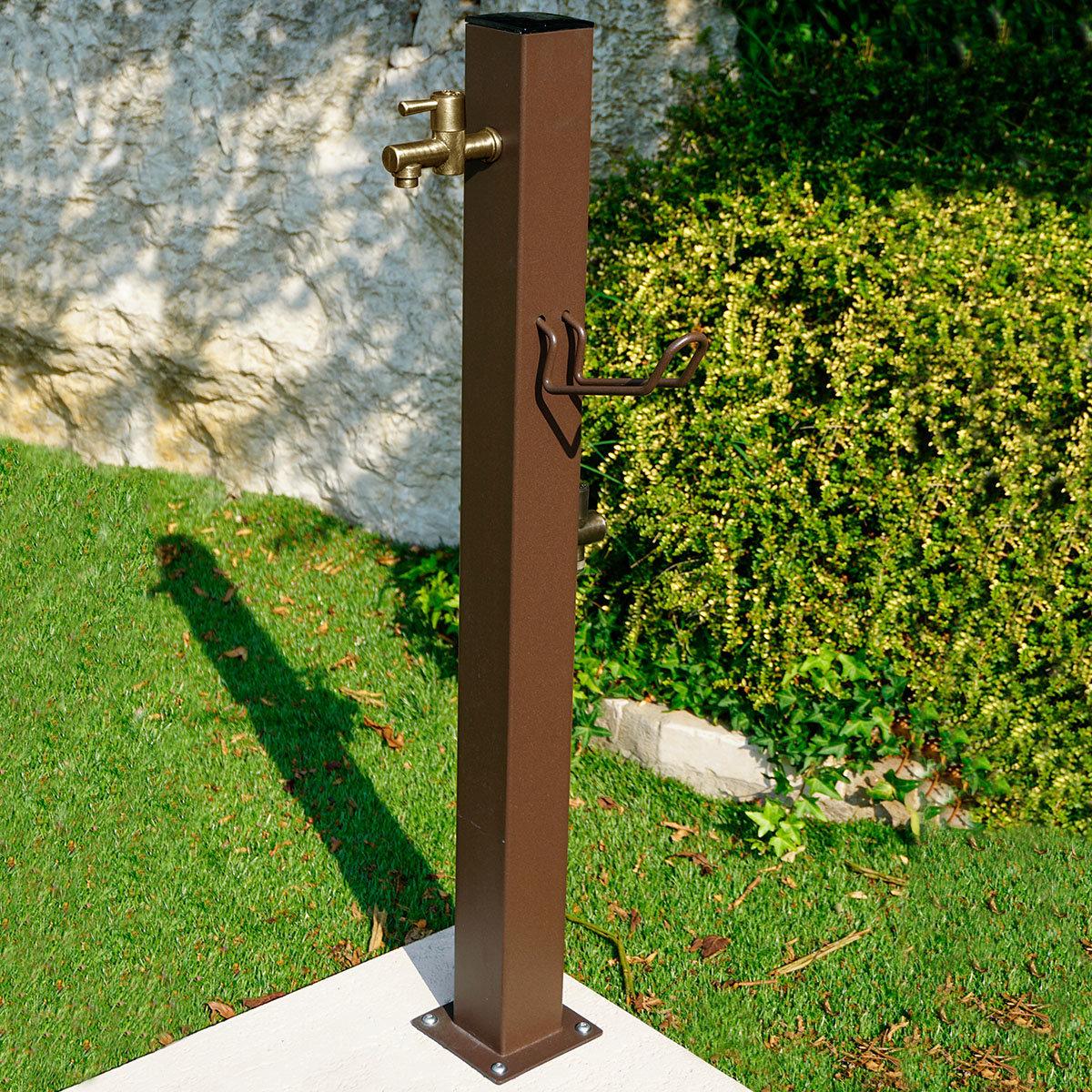 Wasserzapfsäule Quadra, 100x14x21 cm, Stahl, braun