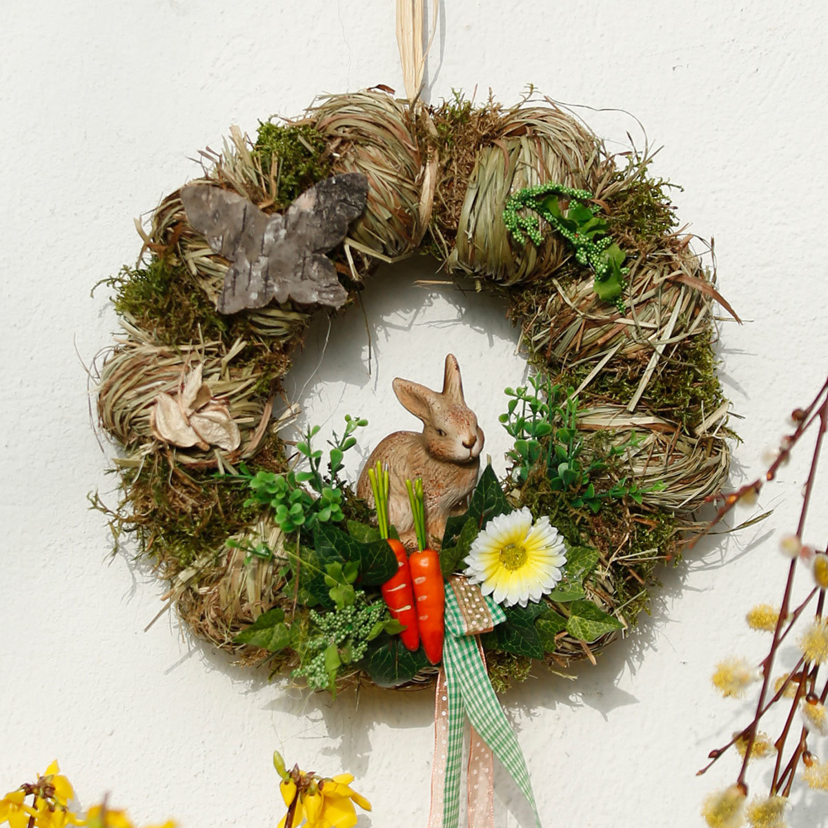 Frühlingskranz mit Hase, 28 cm