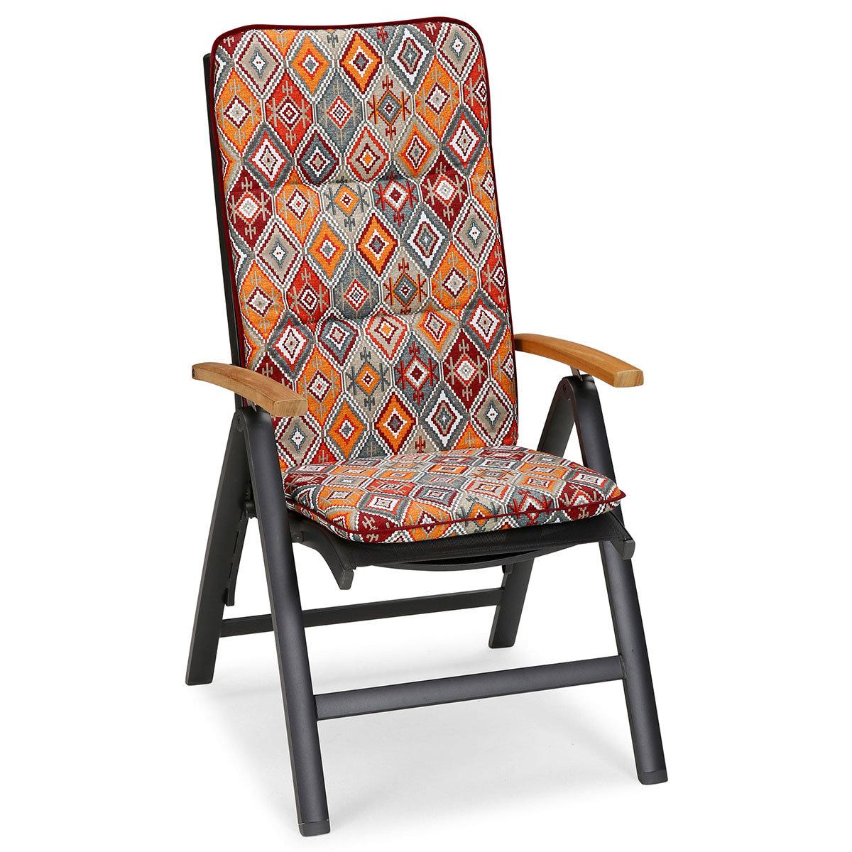 Hochlehner Auflage Porto, Rautendesign, 120x50x6 cm, orange rot