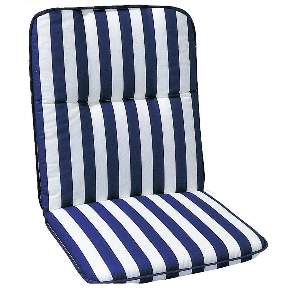 Niedriglehner Auflage Porto, gestreift, 100x50x6 cm, blau weiss