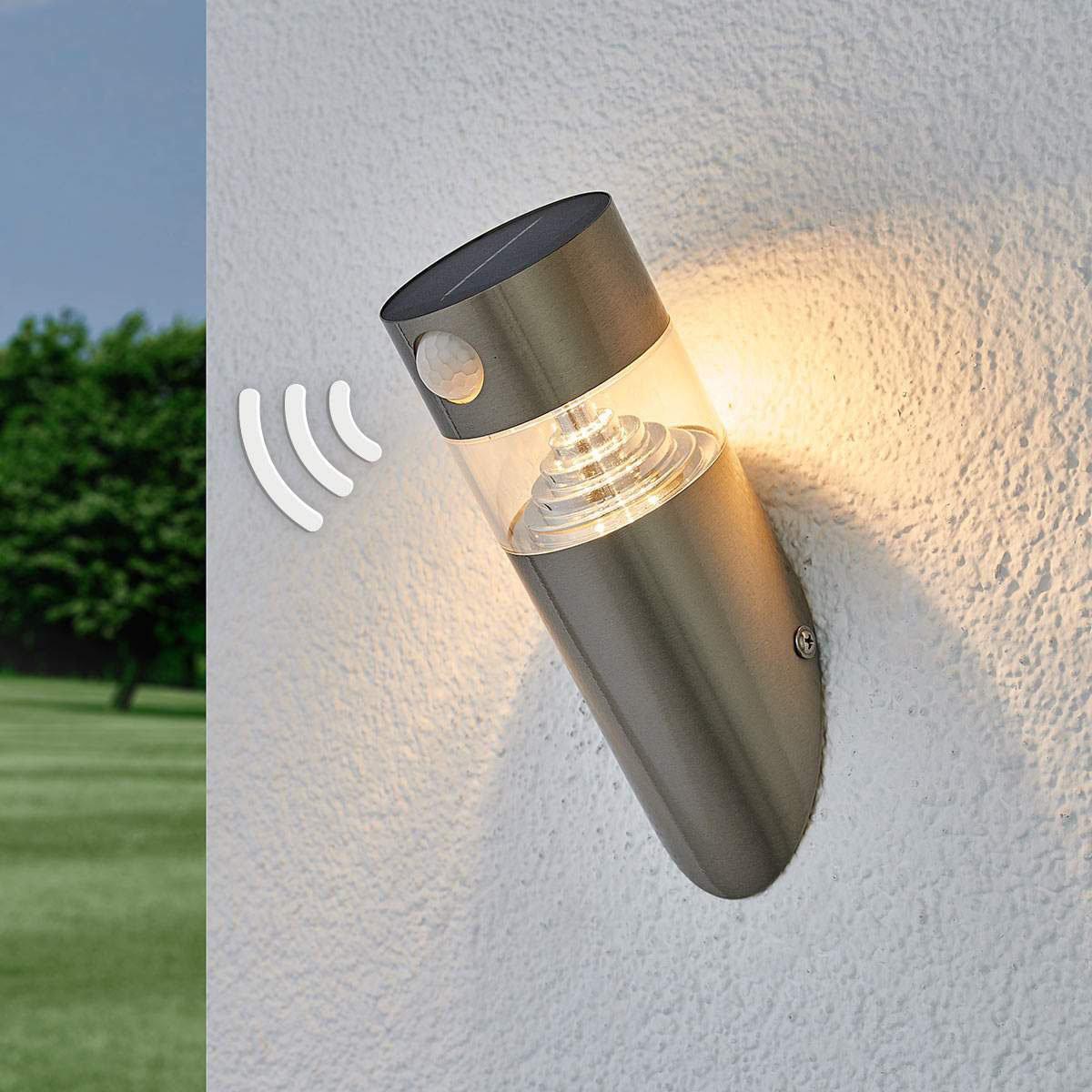 Solar-LED-Wandlampe Kalypso mit Bewegungsmelder, 21,3x7,6x7,6 cm, Edelstahl, silber