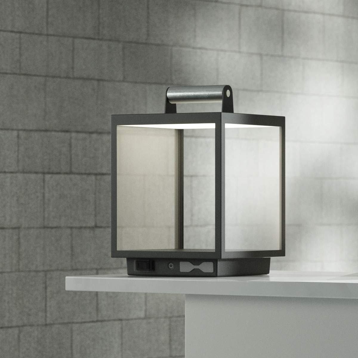 LED Tischleuchte Cube, 26,7x18x18 cm, Aluminium, grau