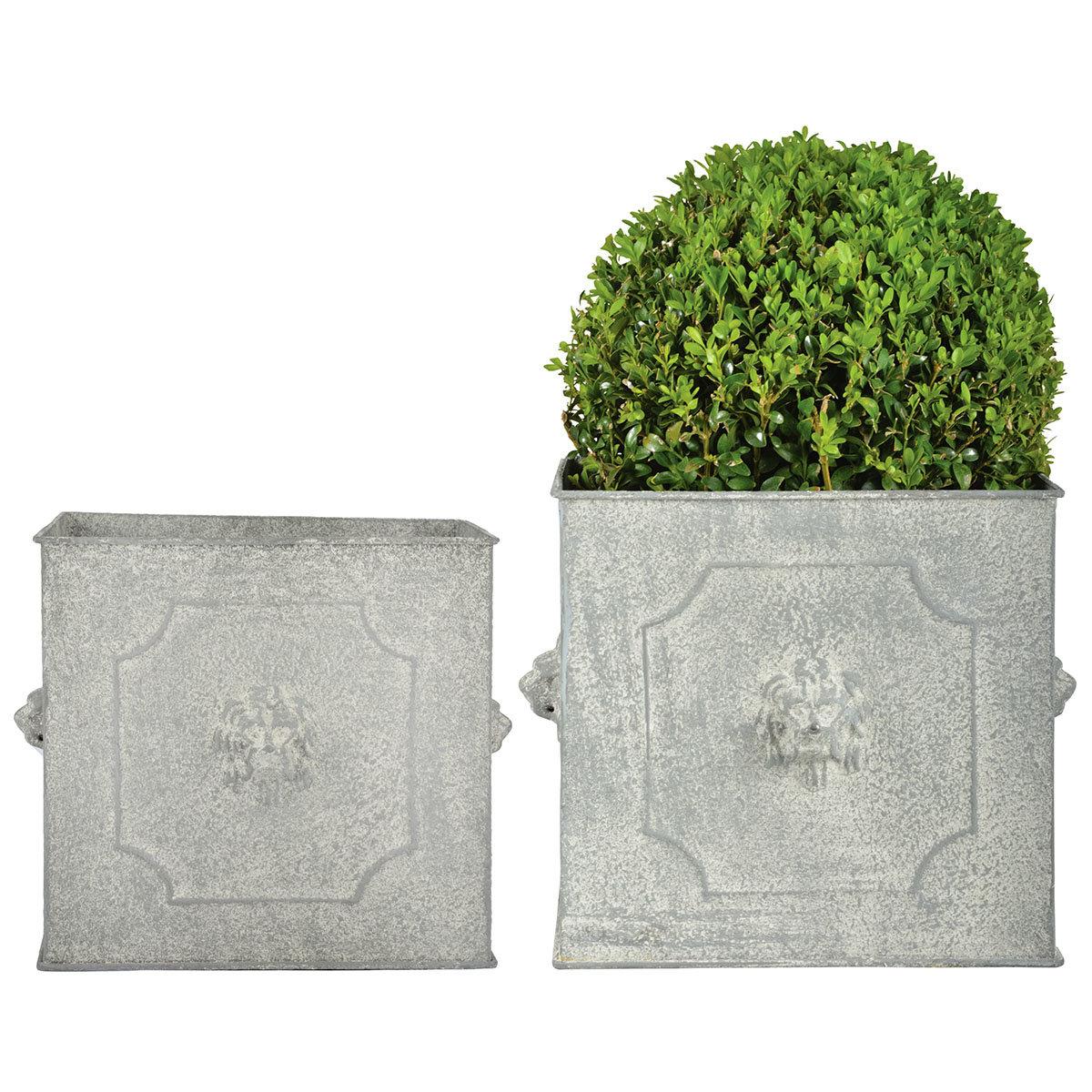 Pflanzkübel Rom, 2er-Set eckig, Stahl, weiß