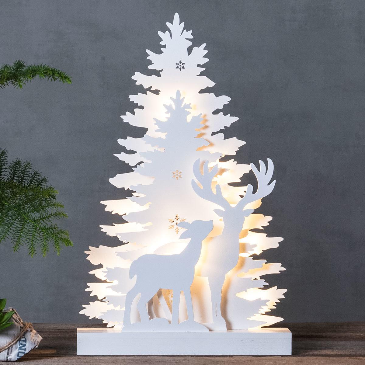 LED-Fensterleuchter Winter Emotion, 44x28x6 cm, Holz, weiß