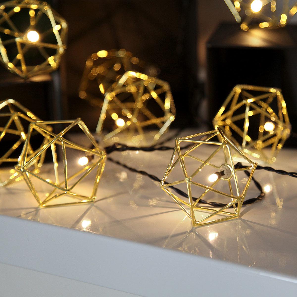 LED-Lichterkette Edge, 225 cm, Metall, gold