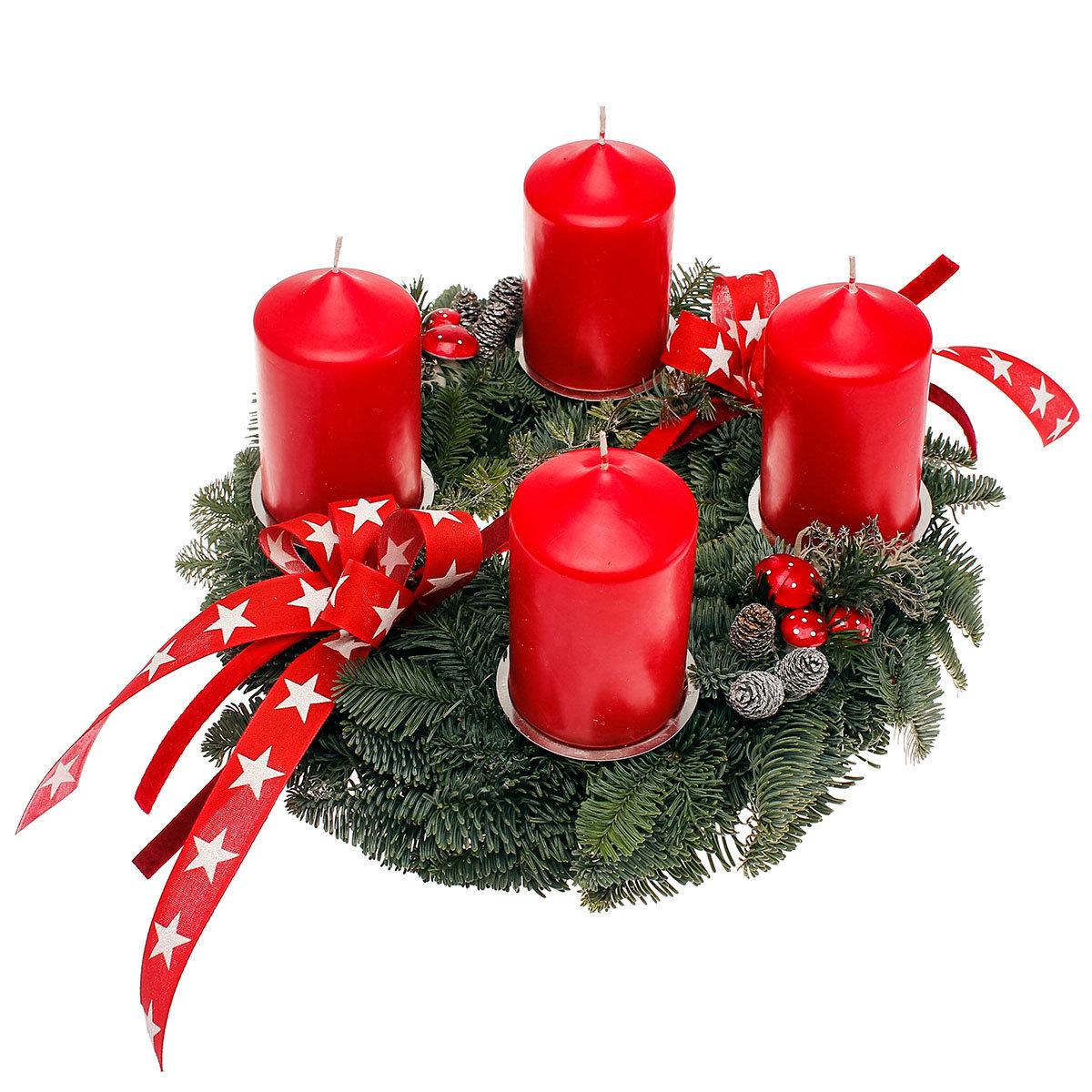 adventskranz mit roten kerzen dekoriert online kaufen bei g rtner p tschke