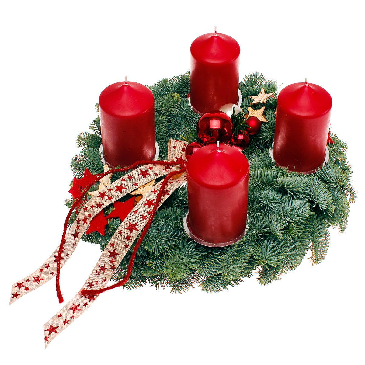 adventskranz mit bordeaux roten kerzen dekoriert online kaufen bei g rtner p tschke