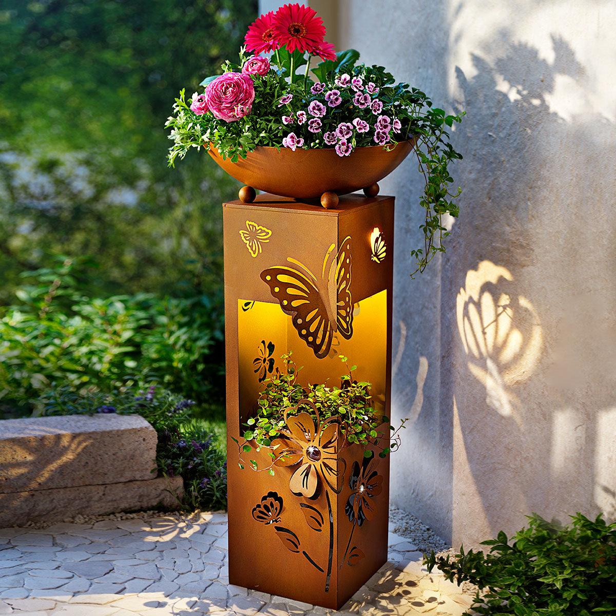 Pflanzsäule Butterfly, mit LED Beleuchtung, 70 cm, Ø 34 cm, rostbraun