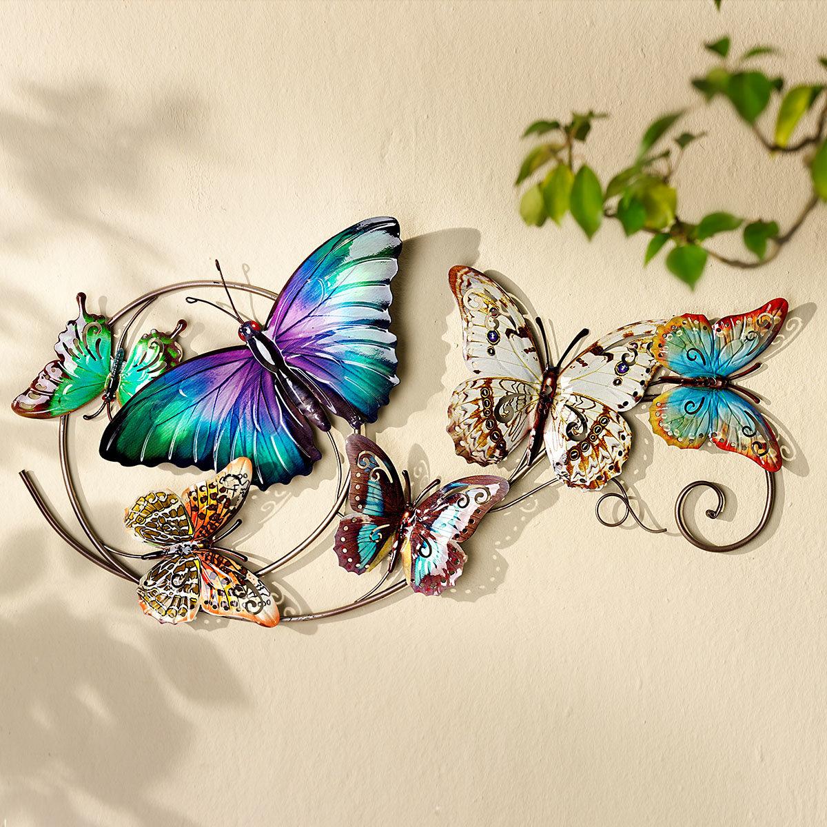 Wanddeko Schmetterlinge, 73x37 cm, bunt