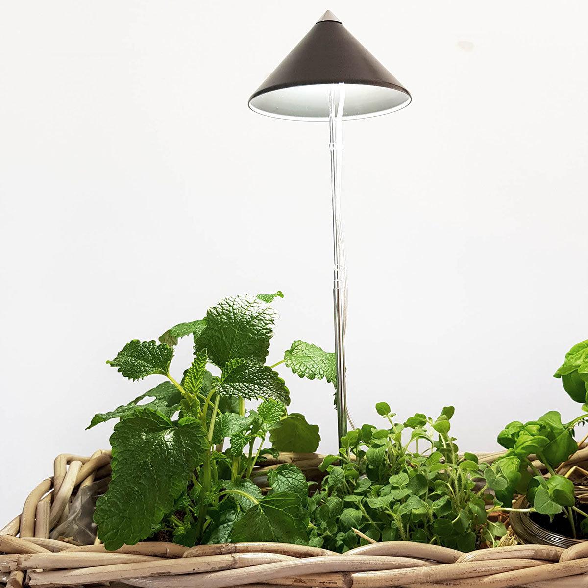 Sunlite Pflanzenlampe, 7 W, 28-100 cm, Ø 11, Kabel 4 m,Aluminium, grau