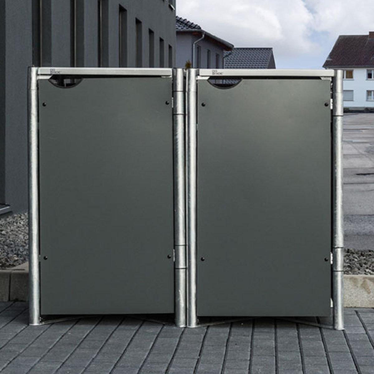 Mülltonnenbox 240l Kunststoff, 2er Box, grau