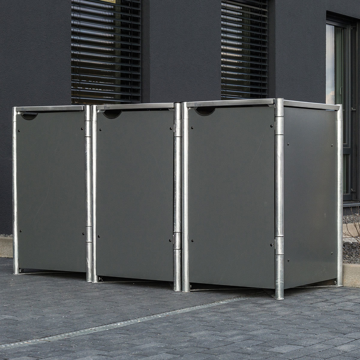 Mülltonnenbox 240l Kunststoff, 3er Box, grau