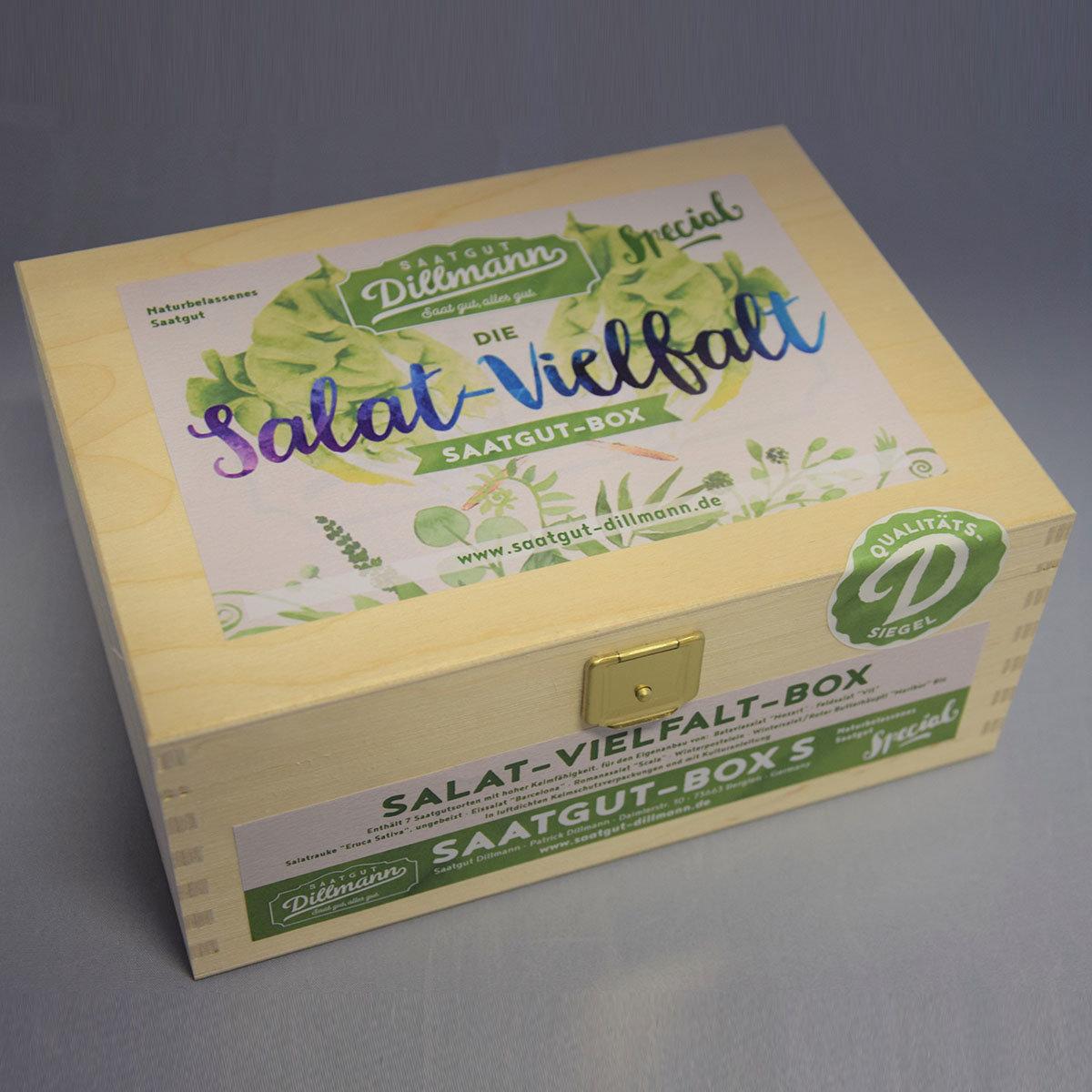 Saatgut-Holzbox Salatvielfalt, 7 Saatgut-Sorten