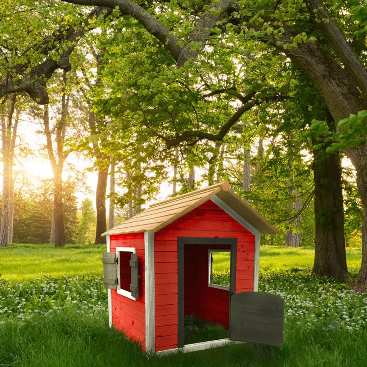 Kinder Spielhaus kleines Schloss, rot und weiß lasiert, ca. 138 x 118 x 132,5 cm