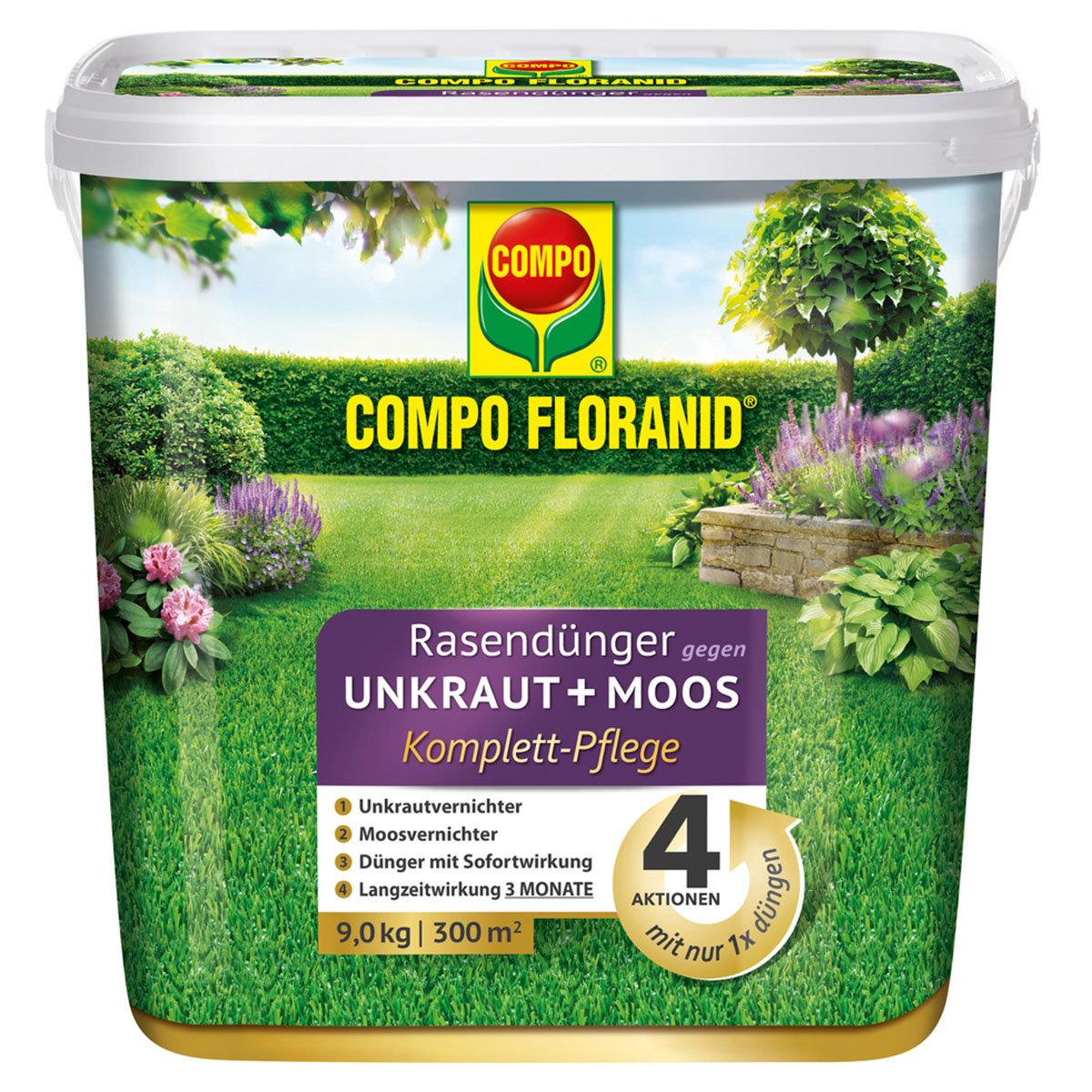 Floranid Rasendünger gegen Unkraut + Moos, 9 kg