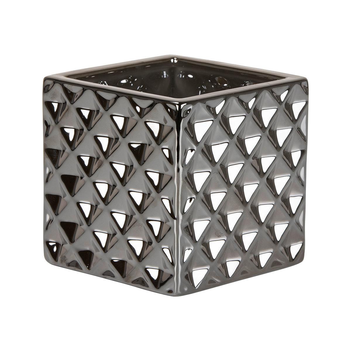 Übertopf Titanium Silver Cube, 15 cm, Silber