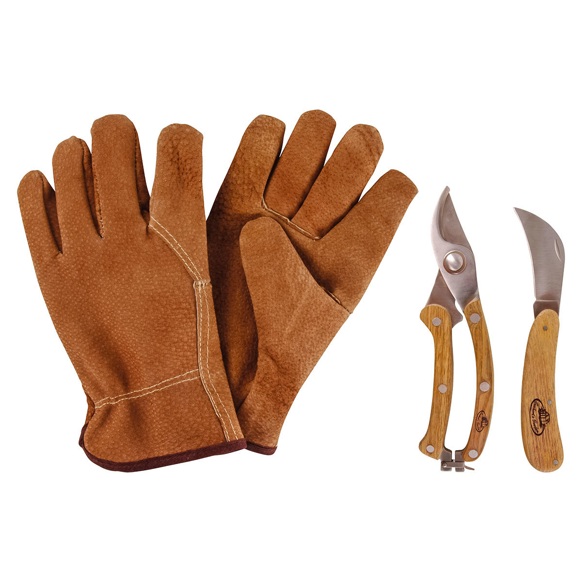 Gartenwerkzeug-Set, Schlossgärtner, Eschenholzgriff, Edelstahl, mit Lederhandschuhen