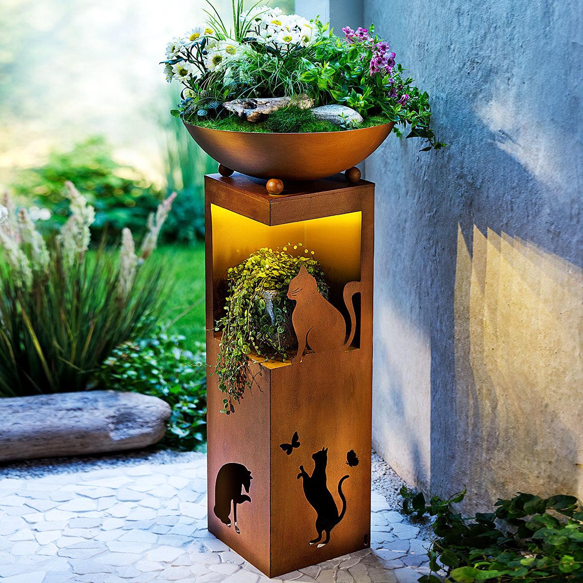 LED Pflanzsäule Katzenliebhaber, ca. 70 cm