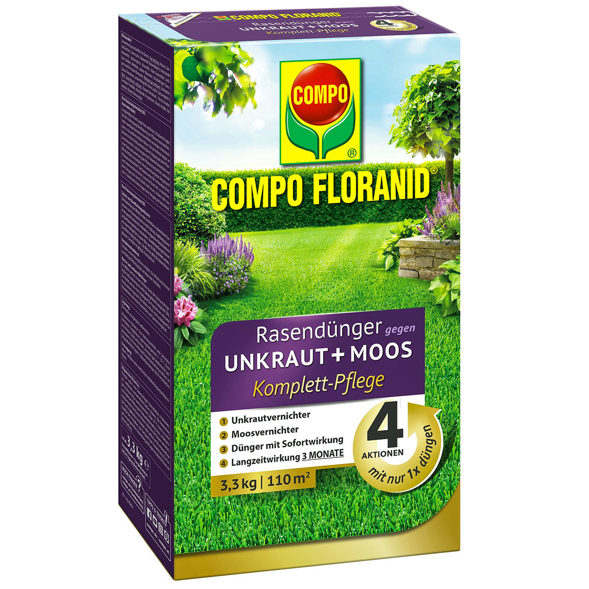Floranid Rasendünger gegen Unkraut + Moos, 3,3 kg