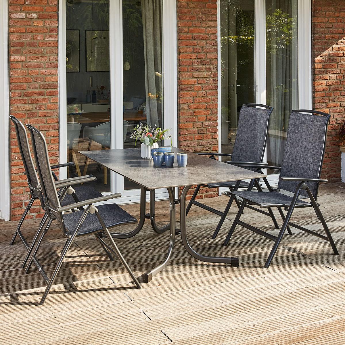 Gartenmöbel-Set Livorno mit 4 Stühlen und 1 Klapptisch