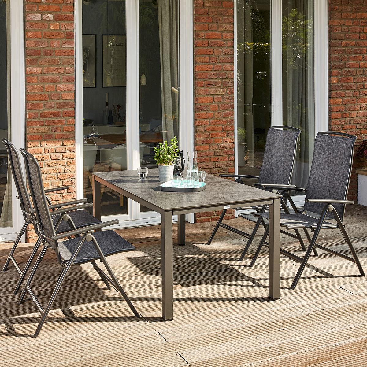 Gartenmöbel-Set Livorno mit 4 Klappstühlen und 1 Lofttisch