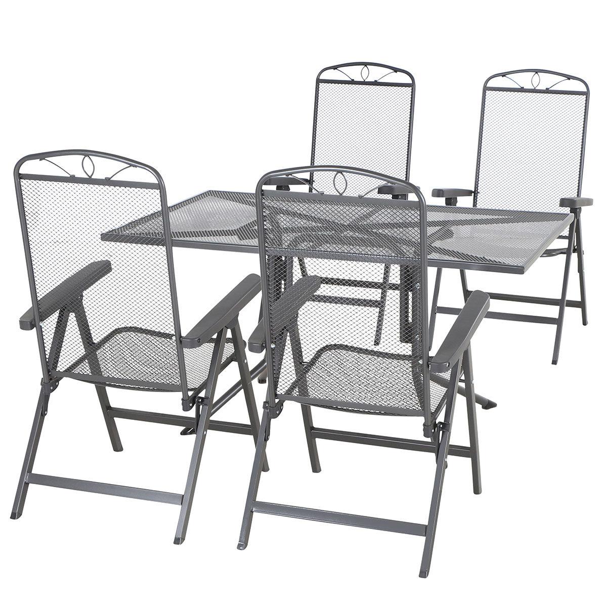 Gartenmöbel-Set Elda mit 4 Klappsesseln und 1 Tisch aus Stahlgeflecht