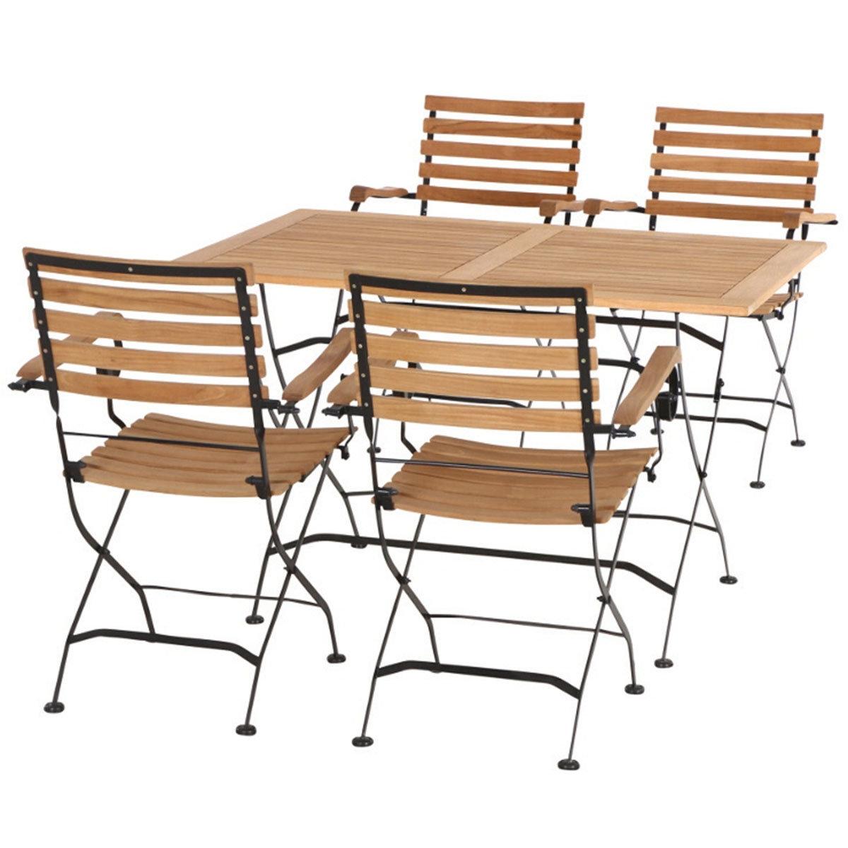 Gartenmöbel-Set Peru mit 4 Klappsesseln mit Armlehnen und 1 Klapptisch
