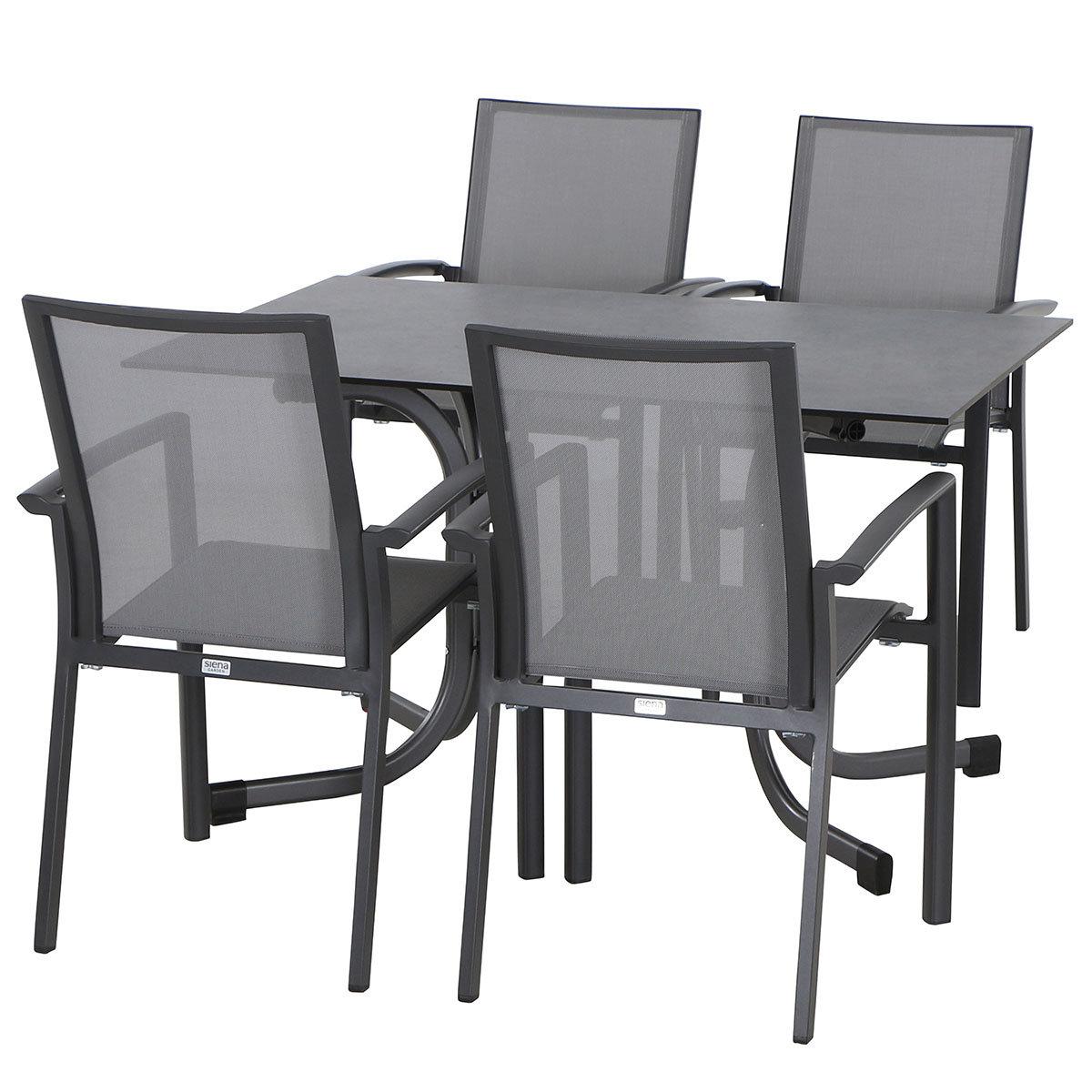 Gartenmöbel-Set Velia mit 4 Stapelstühlen und 1 Aluminium-Klapptisch