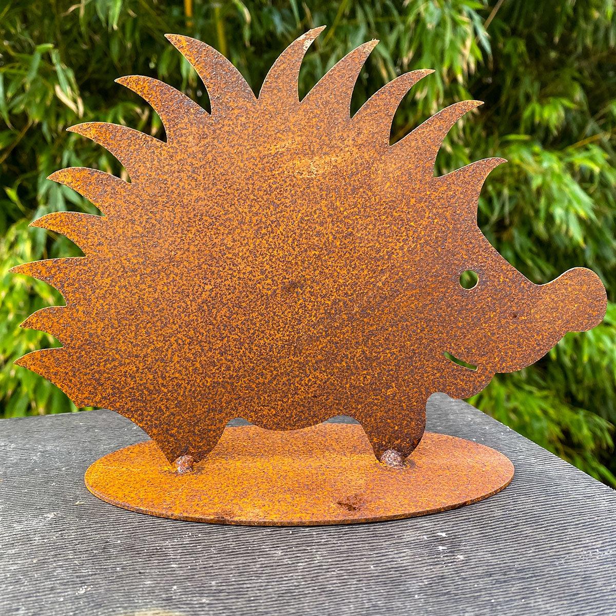 Gartenfigur Igel Max, Edelrost, 20 cm
