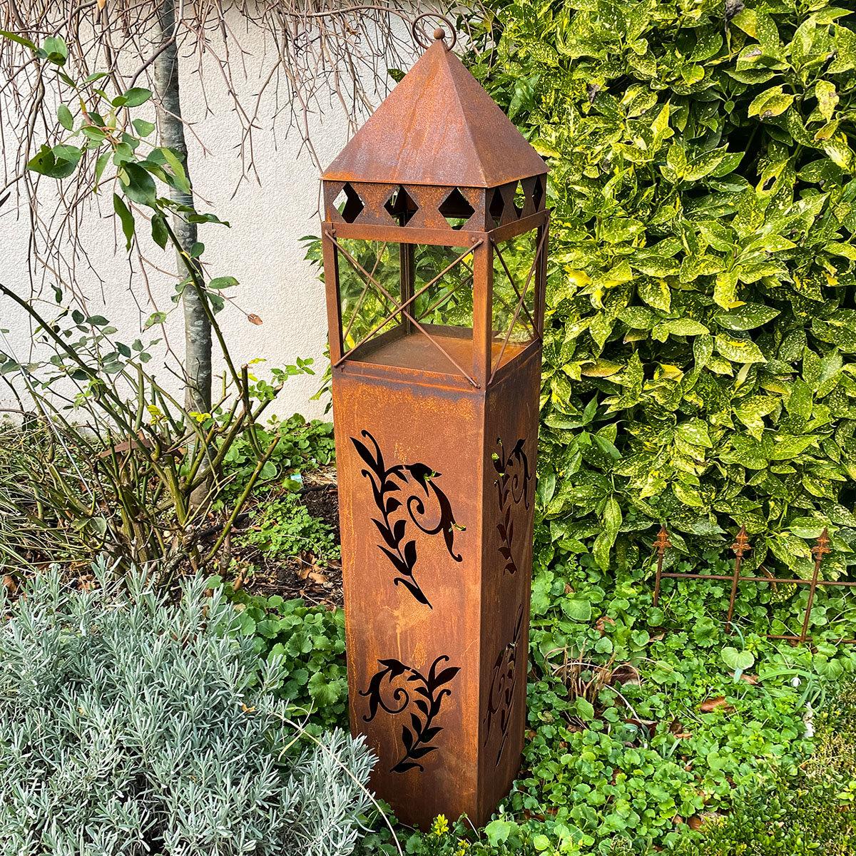 Laterne Garten Eden, Edelrost, 135 cm