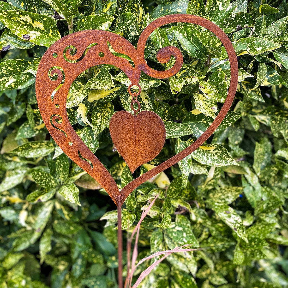Gartenstecker Herz Sweetheart, Edelrost, ca. 65 cm